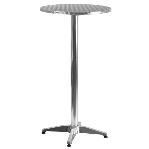 Wholesale 23.25'' Round Aluminum Indoor-Outdoor Folding Bar Height Table with Base