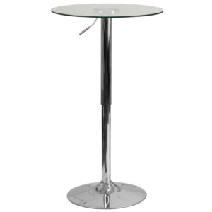 Wholesale 23.5'' Round Adjustable Height Glass Table (Adjustable Range 33.5'' - 41'')