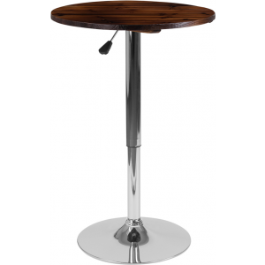 Wholesale 23.5'' Round Adjustable Height Rustic Pine Wood Table (Adjustable Range 26.25'' - 35.5'')
