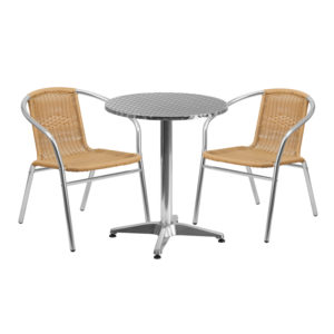 Wholesale 23.5'' Round Aluminum Indoor-Outdoor Table Set with 2 Beige Rattan Chairs