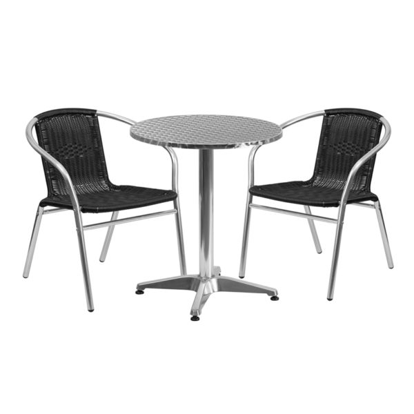 Wholesale 23.5'' Round Aluminum Indoor-Outdoor Table Set with 2 Black Rattan Chairs
