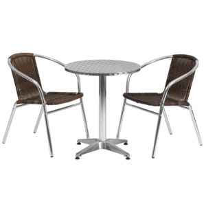 Wholesale 23.5'' Round Aluminum Indoor-Outdoor Table Set with 2 Dark Brown Rattan Chairs