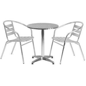 Wholesale 23.5'' Round Aluminum Indoor-Outdoor Table Set with 2 Slat Back Chairs