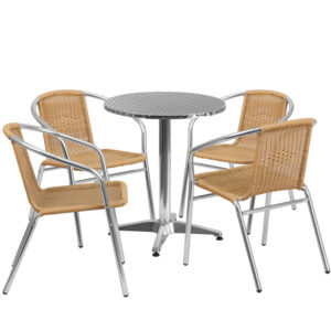 Wholesale 23.5'' Round Aluminum Indoor-Outdoor Table Set with 4 Beige Rattan Chairs