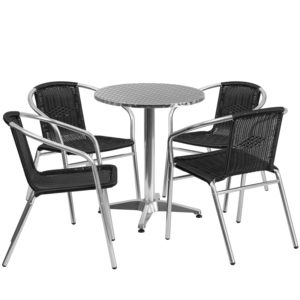 Wholesale 23.5'' Round Aluminum Indoor-Outdoor Table Set with 4 Black Rattan Chairs
