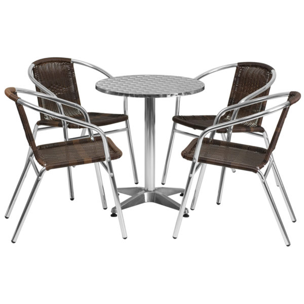 Wholesale 23.5'' Round Aluminum Indoor-Outdoor Table Set with 4 Dark Brown Rattan Chairs