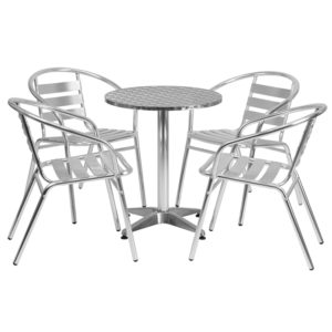 Wholesale 23.5'' Round Aluminum Indoor-Outdoor Table Set with 4 Slat Back Chairs