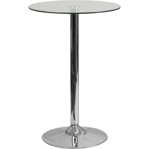 Wholesale 23.5'' Round Glass Table with 35.5''H Chrome Base