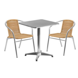 Wholesale 23.5'' Square Aluminum Indoor-Outdoor Table Set with 2 Beige Rattan Chairs