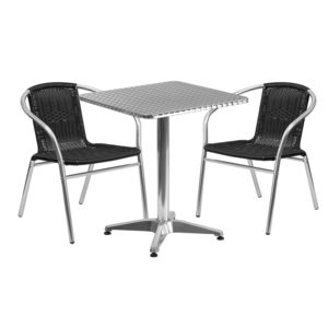 Wholesale 23.5'' Square Aluminum Indoor-Outdoor Table Set with 2 Black Rattan Chairs