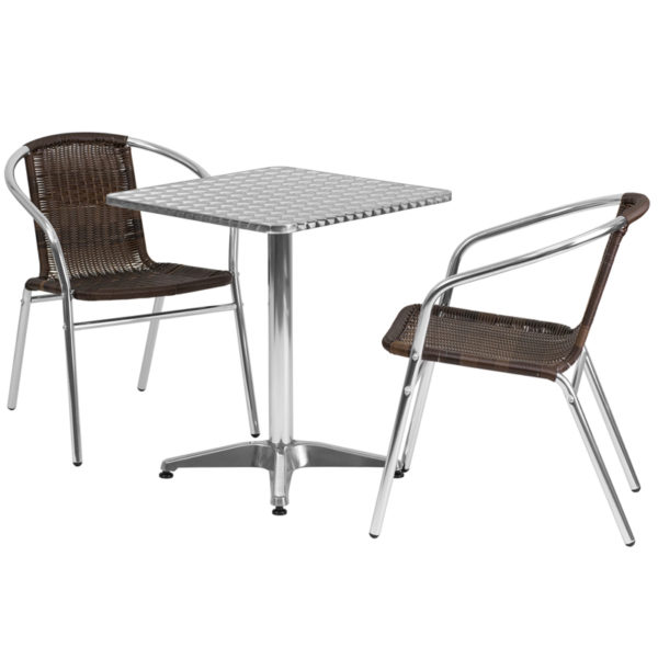 Wholesale 23.5'' Square Aluminum Indoor-Outdoor Table Set with 2 Dark Brown Rattan Chairs