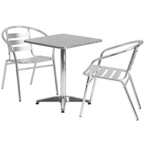 Wholesale 23.5'' Square Aluminum Indoor-Outdoor Table Set with 2 Slat Back Chairs