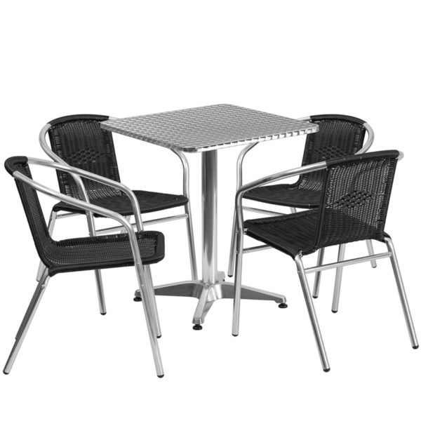 Wholesale 23.5'' Square Aluminum Indoor-Outdoor Table Set with 4 Black Rattan Chairs