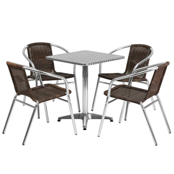 Wholesale 23.5'' Square Aluminum Indoor-Outdoor Table Set with 4 Dark Brown Rattan Chairs