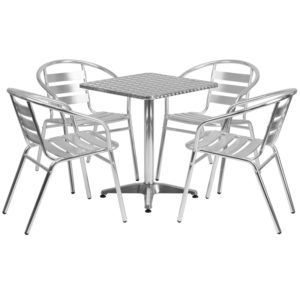 Wholesale 23.5'' Square Aluminum Indoor-Outdoor Table Set with 4 Slat Back Chairs