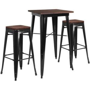 "Wholesale 23.5"" Square Black Metal Bar Table Set with Wood Top and 2 Backless Stools"