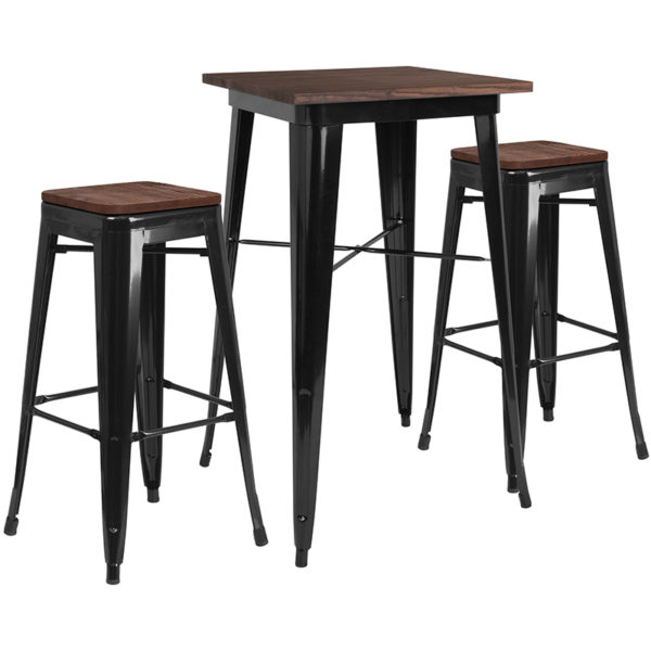 """Wholesale 23.5"""" Square Black Metal Bar Table Set with Wood Top and 2 Backless Stools"""