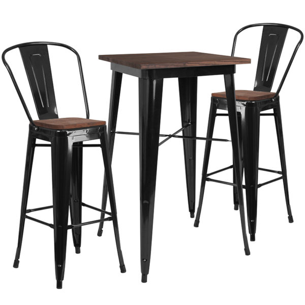 """Wholesale 23.5"""" Square Black Metal Bar Table Set with Wood Top and 2 Stools"""