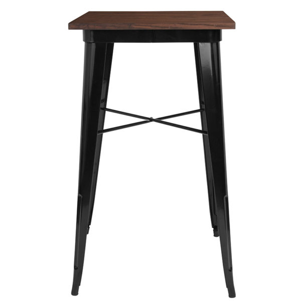 """Lowest Price 23.5"""" Square Black Metal Indoor Bar Height Table with Walnut Rustic Wood Top"""
