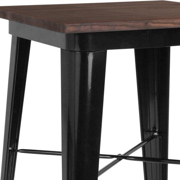 Metal Cafe Bar Table 23.5SQ Black Metal Bar Table