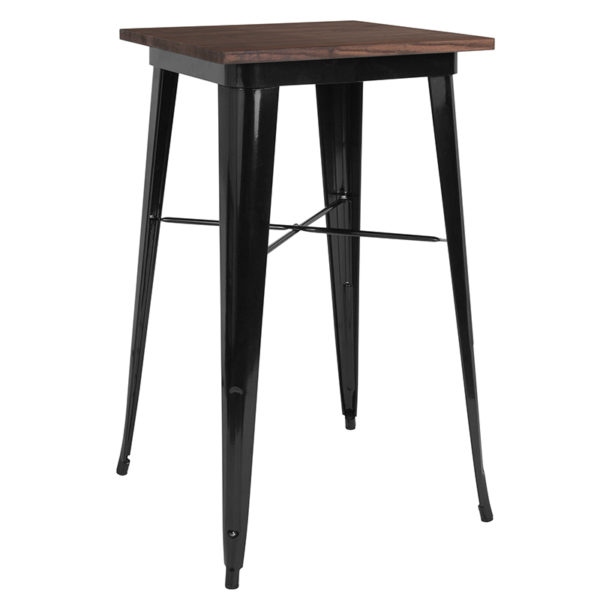"""Wholesale 23.5"""" Square Black Metal Indoor Bar Height Table with Walnut Rustic Wood Top"""