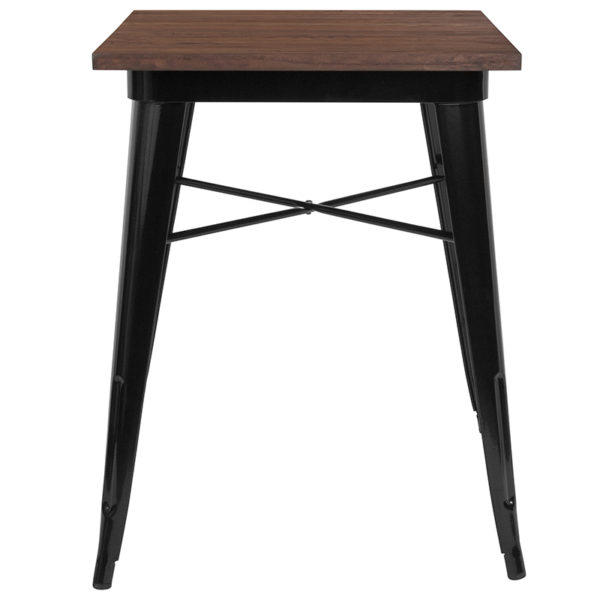 """Lowest Price 23.5"""" Square Black Metal Indoor Table with Walnut Rustic Wood Top"""