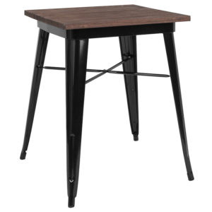 "Wholesale 23.5"" Square Black Metal Indoor Table with Walnut Rustic Wood Top"