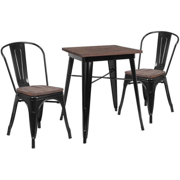 """Wholesale 23.5"""" Square Black Metal Table Set with Wood Top and 2 Stack Chairs"""