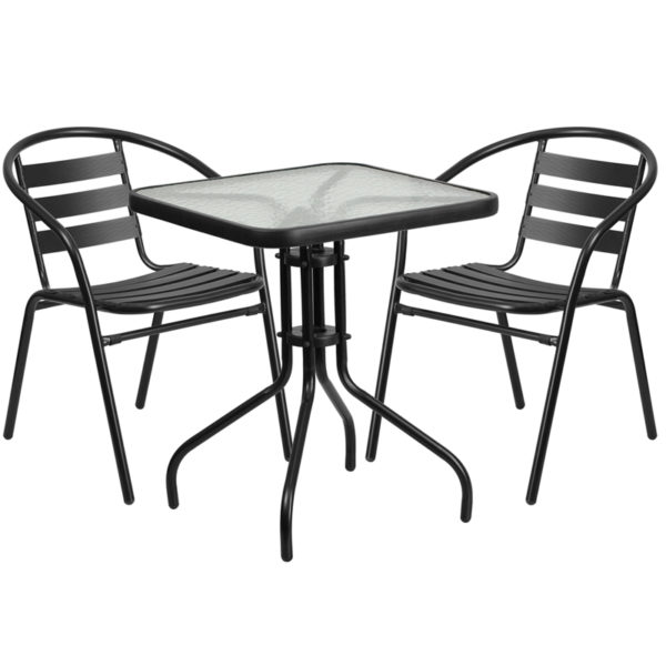 Wholesale 23.5'' Square Glass Metal Table with 2 Black Metal Aluminum Slat Stack Chairs