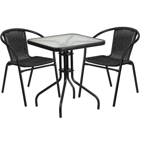 Wholesale 23.5'' Square Glass Metal Table with 2 Black Rattan Stack Chairs