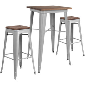 "Wholesale 23.5"" Square Silver Metal Bar Table Set with Wood Top and 2 Backless Stools"