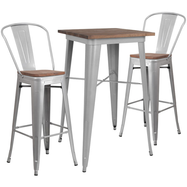 "Wholesale 23.5"" Square Silver Metal Bar Table Set with Wood Top and 2 Stools"
