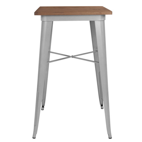 "Lowest Price 23.5"" Square Silver Metal Indoor Bar Height Table with Walnut Rustic Wood Top"