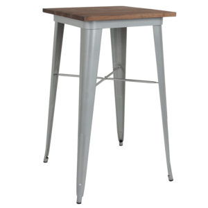 "Wholesale 23.5"" Square Silver Metal Indoor Bar Height Table with Walnut Rustic Wood Top"