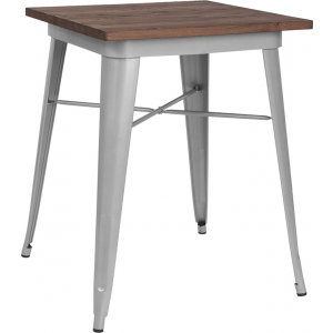 "Wholesale 23.5"" Square Silver Metal Indoor Table with Walnut Rustic Wood Top"