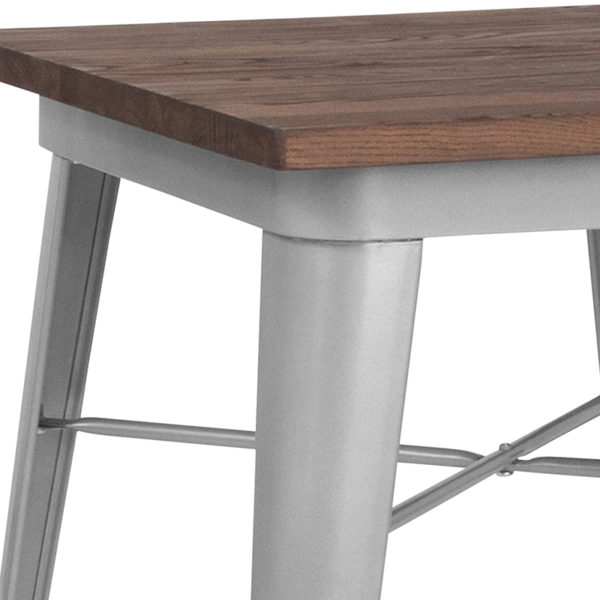 Metal Cafe Table 23.5SQ Silver Metal Table
