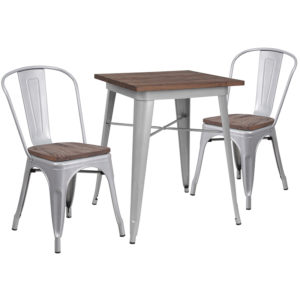 "Wholesale 23.5"" Square Silver Metal Table Set with Wood Top and 2 Stack Chairs"