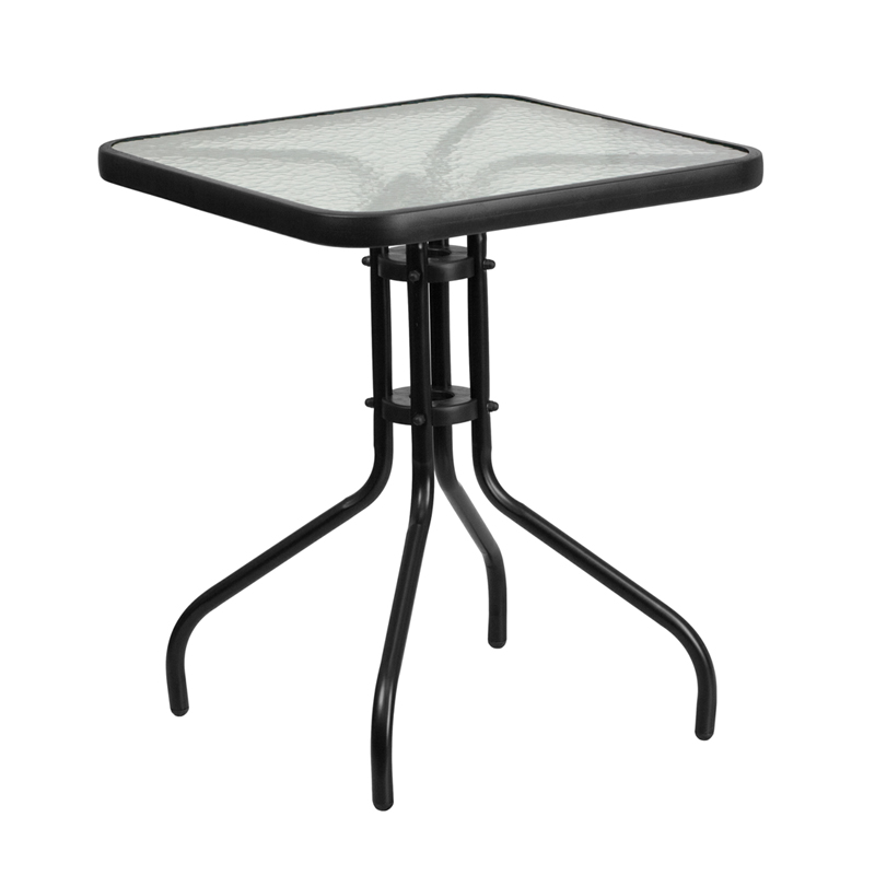 Wholesale 23.5'' Square Tempered Glass Metal Table