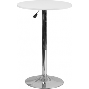 Wholesale 23.75'' Round Adjustable Height White Wood Table (Adjustable Range 26.25'' - 35.75'')