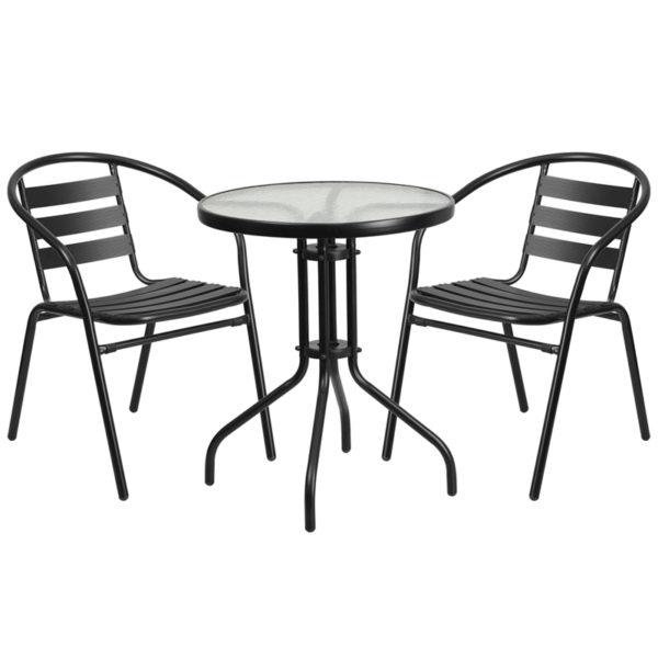 Wholesale 23.75'' Round Glass Metal Table with 2 Black Metal Aluminum Slat Stack Chairs
