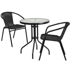 Wholesale 23.75'' Round Glass Metal Table with 2 Black Rattan Stack Chairs