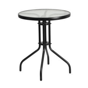 Wholesale 23.75'' Round Tempered Glass Metal Table