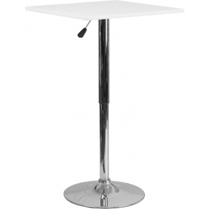 Wholesale 23.75'' Square Adjustable Height White Wood Table (Adjustable Range 33'' - 40.5'')