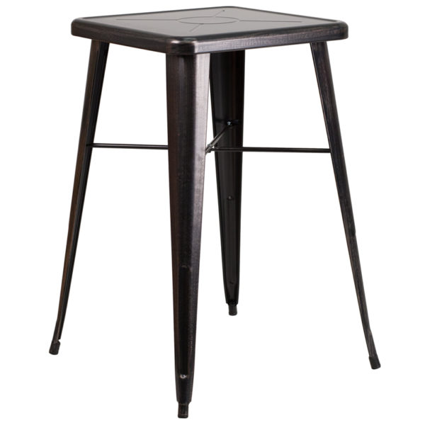 Wholesale 23.75'' Square Black-Antique Gold Metal Indoor-Outdoor Bar Height Table