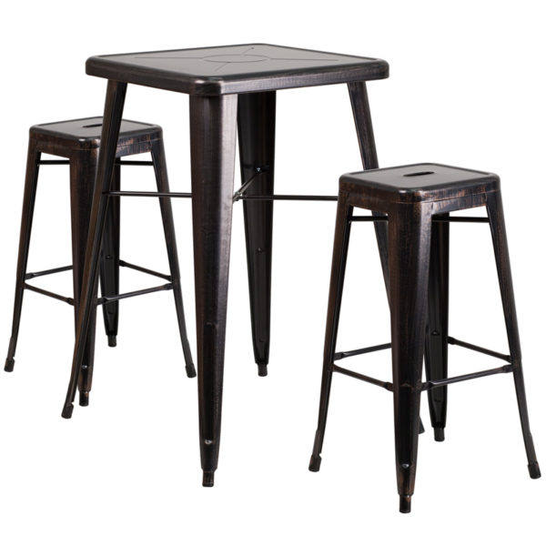 Lowest Price 23.75'' Square Black-Antique Gold Metal Indoor-Outdoor Bar Table Set with 2 Square Seat Backless Stools