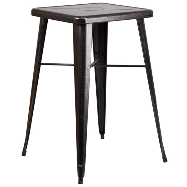 Contemporary Style Bar Table and Stack Stool Set 23.75SQ Aged Black Bar Set