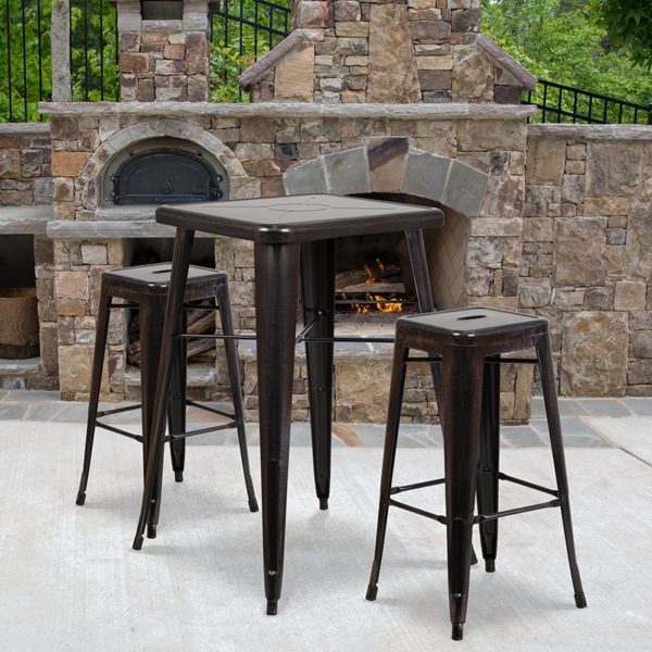 Wholesale 23.75'' Square Black-Antique Gold Metal Indoor-Outdoor Bar Table Set with 2 Square Seat Backless Stools