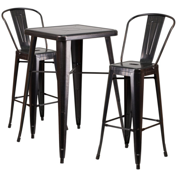 Lowest Price 23.75'' Square Black-Antique Gold Metal Indoor-Outdoor Bar Table Set with 2 Stools with Backs