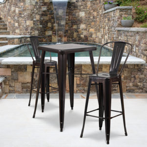 Wholesale 23.75'' Square Black-Antique Gold Metal Indoor-Outdoor Bar Table Set with 2 Stools with Backs
