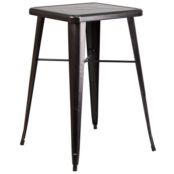 Bar Height Table and Stool Set 23.75SQ Aged Black Bar Set